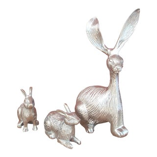 Family of Silver Rabbits - Set of 3