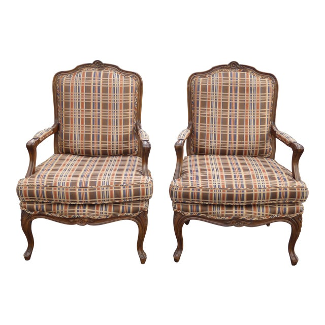 Vintage French Country Carved Wood Brown Orange Plaid Chairs - A Pair - Image 1 of 10