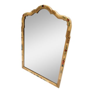 Chinoiserie Painted Embossed Mirror