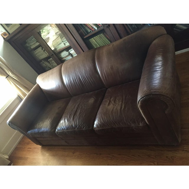 Mitchell Gold Brown Leather Sofa - Image 8 of 8