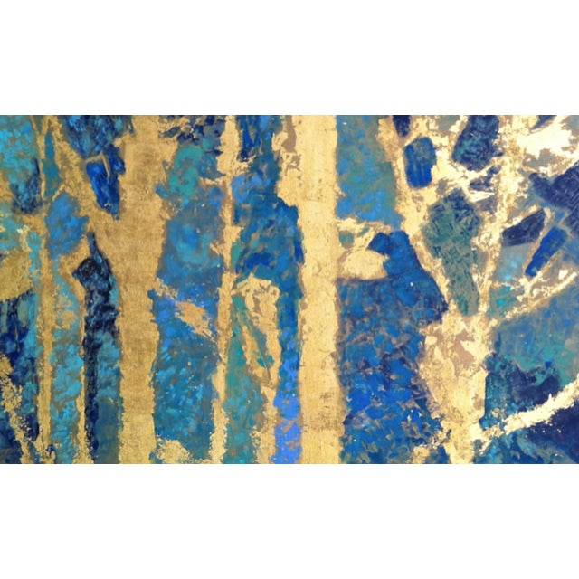 Bryan Boomershine Aqua Gold Abstract Painting - Image 1 of 4