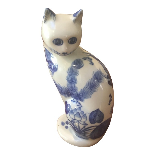 Blue & White Lotus Cat Figurine - Image 1 of 6