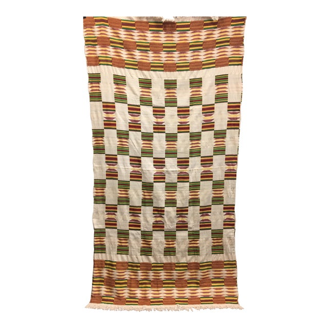 "African Tribal Vintage Textile Throw - 41"" x 79"" - Image 1 of 11"