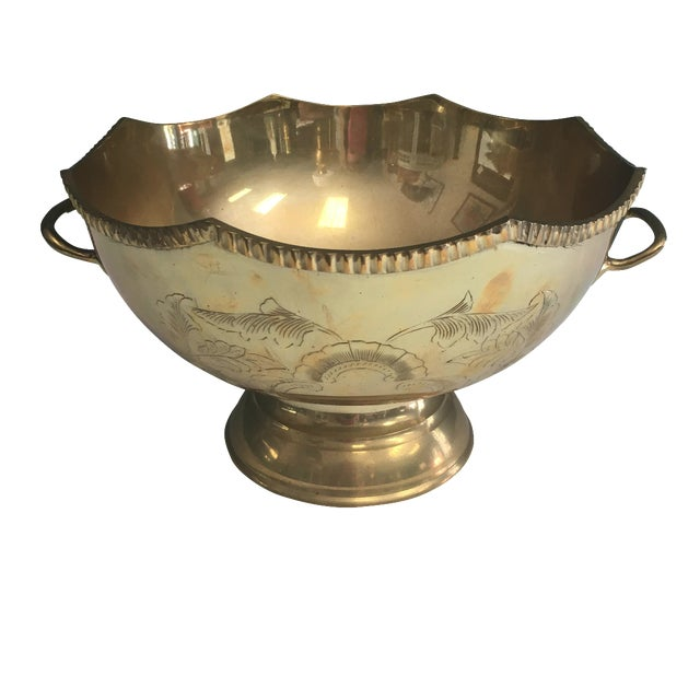 Etched Brass Scalloped Bowl - Image 1 of 5