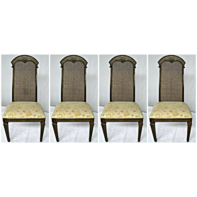 Wicker High Back Wooden Chairs- Set of 4 - Image 4 of 6