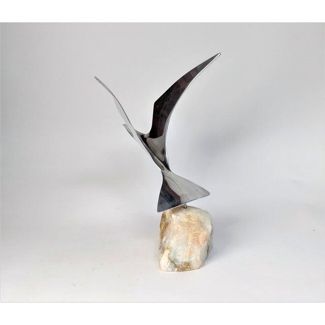 Curtis Jere Aluminum Seagull Table Sculpture on Quartz Rock Base - Image 5 of 10