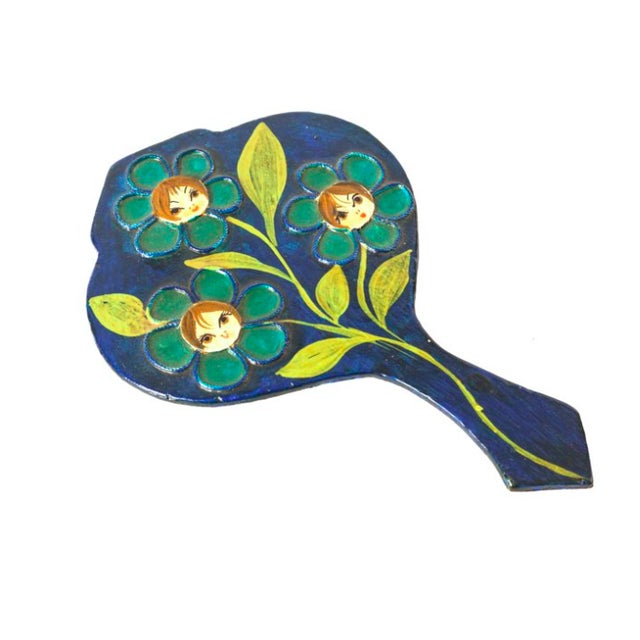 Mod 1960s Floral Hand Mirror - Image 1 of 2