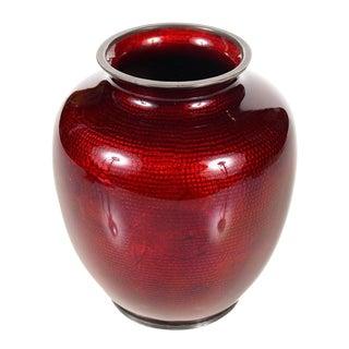 Antique Japanese Red Cloisonne Vase