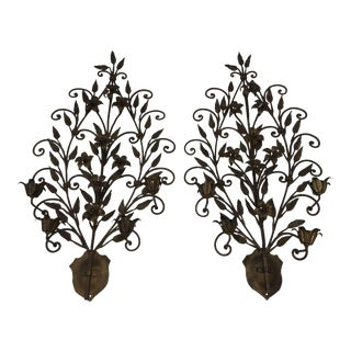 Hand Wrought Iron Floral Wall Sconces - A Pair