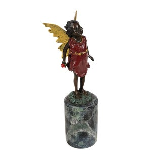 Winged Fairy -Vintage Bronze Figurine on Marble - by Milo