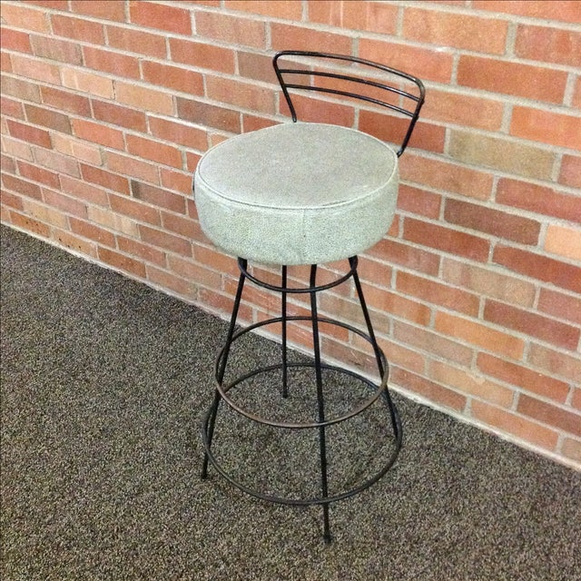 Mid-Century Modern Wrought Iron Stool - Image 3 of 10