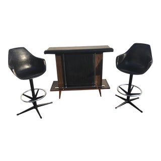 Mid-Century Black Vinyl Bar & Bar Stools - Set of 3