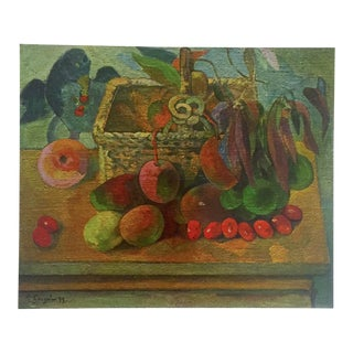 """Gauguin Original Vintage 1972 Lithograph Print """"Still Life With Exotic Fruit"""", 1902"""