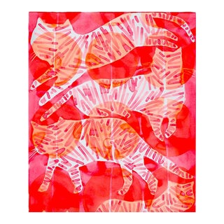 "Kate Roebuck ""Cats"" Watercolor & Ink Painting"