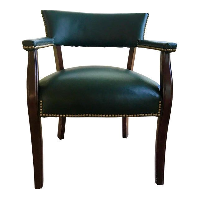 Mid Century Studded Green Leather Library Club Chair - Image 1 of 8