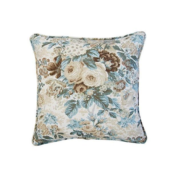Image of Custom Waverly Floral Roses Pillows - A Pair