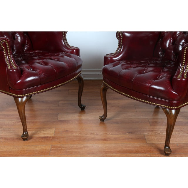 Schaffer Bros Burgundy Leather Chairs - A Pair - Image 10 of 11