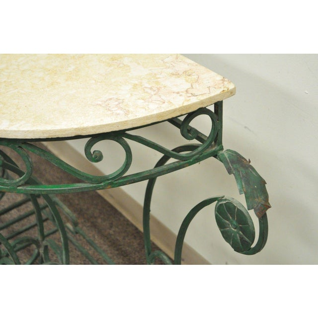 Italian Regency Style Green Wrought Iron Marble Top Console Table - Image 9 of 11