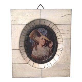 Antique Miniature Portrait-Ivory Frame