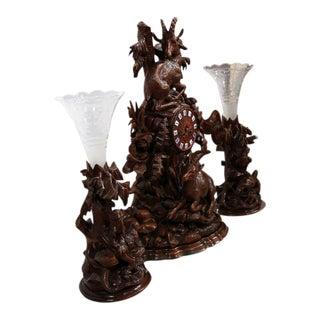 Carved Walnut Black Forest Clock & Matching Vases - Set of 3
