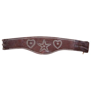 Leather Bronc Belt with Star and Heart Design