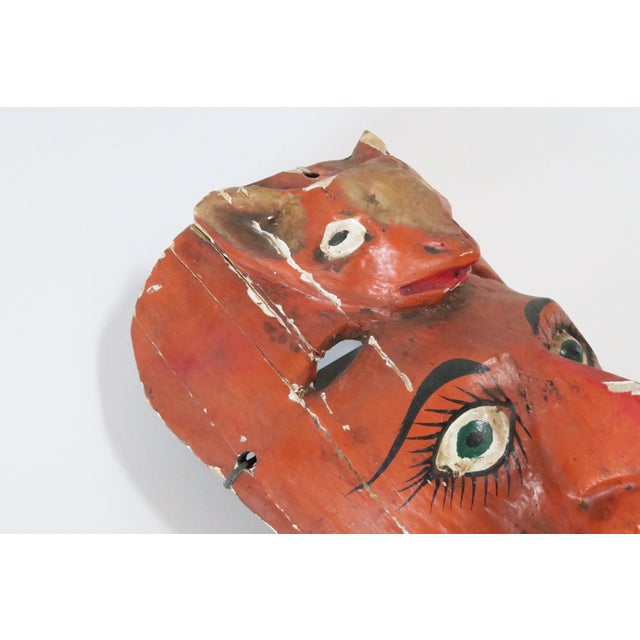 Red Wood Carved Mask - Image 4 of 6