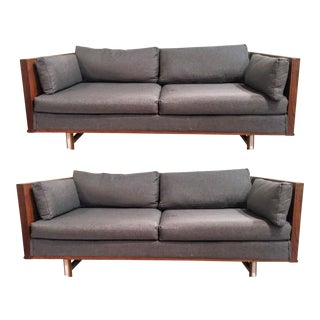 Mid-Century Modern Rosewood Case Sofas - A Pair