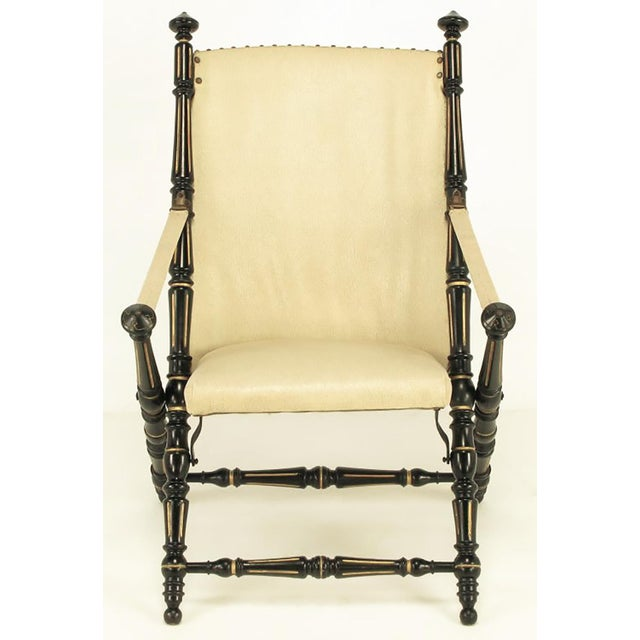 English Style Black Lacquer and Parcel-Gilt Folding Campaign Chair - Image 2 of 9