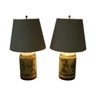 Vintage Metal Toleware Canister Lamps - A Pair