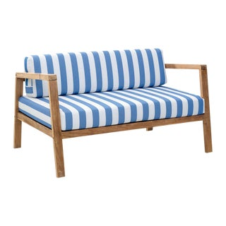 Blue & White Striped Outdoor Sofa
