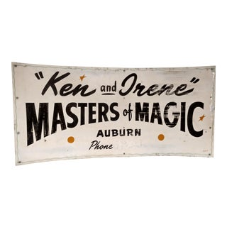 Large Vintage 1940's Magician's Magic Shows Sign