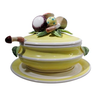 Italian Ceramic Majolica Pottery Mushrooms Soup Tureen & Stand - 3 Piece Set