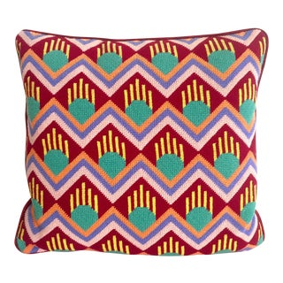 Mid-Century Geometric Needlepoint Pillow