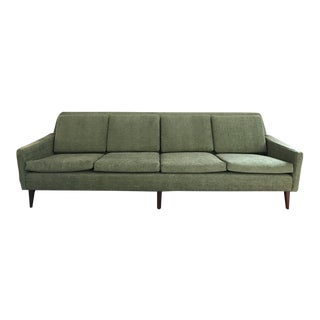 Mid-Century Scandinavian Green Sofa