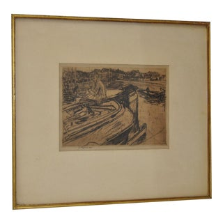 Framed Vintage 1921 Etching