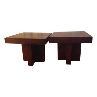 Milo Baughman Walnut Occasional Tables - A Pair