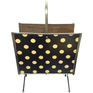 Mid-Century Masonite & Chrome Magazine Rack