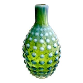 Hand Blown Green Hobnail Vase