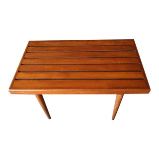 Mid-Century Refinished Walnut Bench Table