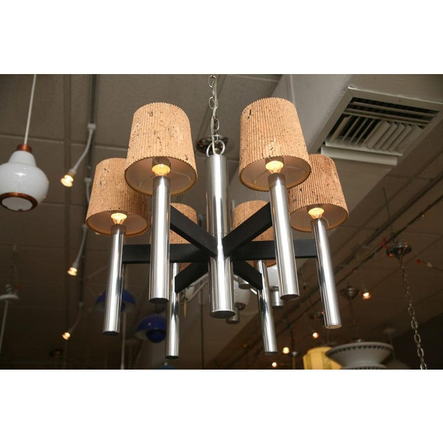 Image of Smart 60's Chrome Tubular Chandelier with Cork Shades