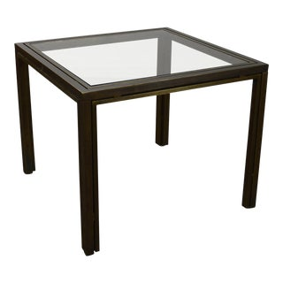 Milo Baughman Mid Century Modern Square Glass Top Brass Game Table