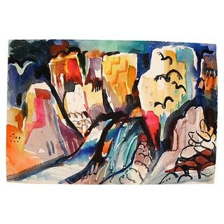 "Watercolor - Rocks & Birds by Lisbeth ""Bet"" Reed"