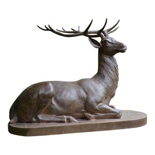 Seated Cast Iron Stag