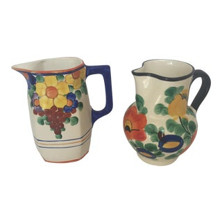 Vintage Deco Czech Flowered Pitchers - A Pair