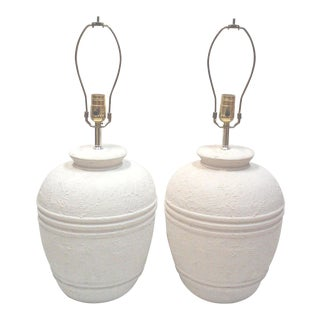 White Textured Ceramic Table Lamps - A Pair