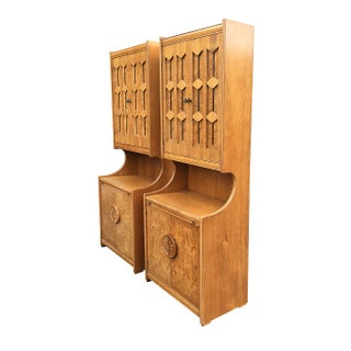 Pull Out Desk & Server Burlwood Cabinets - A Pair