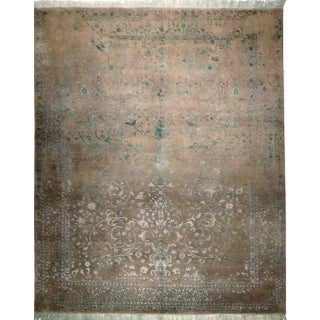 Blue & Gray Hand Knotted Indian Rug - 8′ × 10′