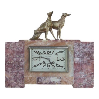 French Art Deco Mantel Clock with Bronze Dogs by Rene Neuhaus for Limoges