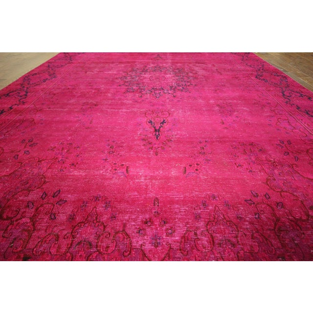 "Pink Overdyed Oriental Floral Rug - 9'6"" x 14'10"" - Image 5 of 10"