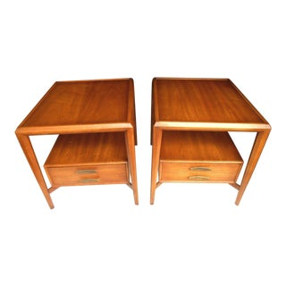 Vintage Mid-Century Modern Walnut Danish Style Floating Drawer and Shelf Nightstands - A Pair